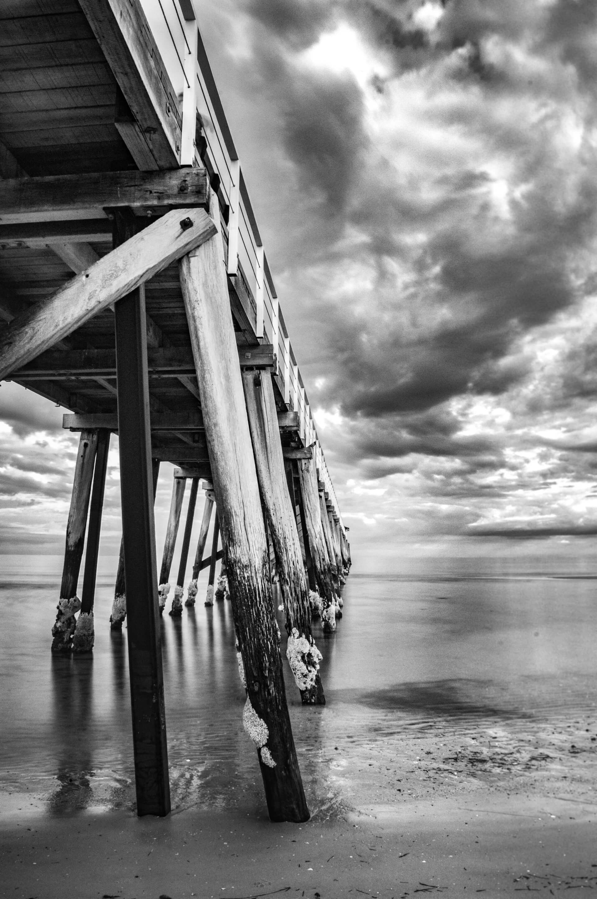 Prionts henley beach jetty adelaide black and white