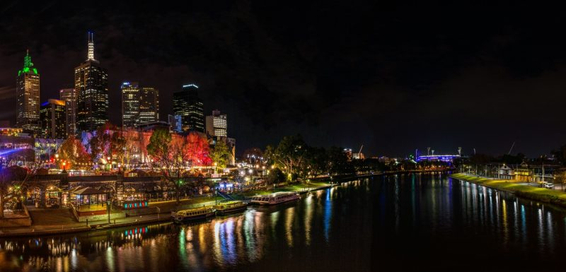 melbourne, night, yarra, river, skyline, victoria, australia