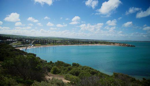 horseshoe bay, port elliot, beach, coast, landscape, ocean, blue, seagull
