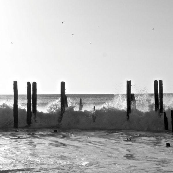 Port willunga jetty, willunga, jetty, ocean, water, crash, wave, tide, wood, remains